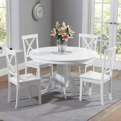 Superieur Elson Round White 4 Seater Dining Set 8491