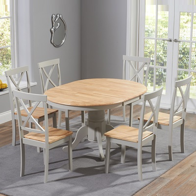 Elson Round Oak And Grey 6 Seater, Round Extendable Dining Table Set Grey