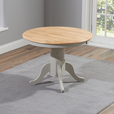 Elson Round Oak And Grey Seater Extending Dining Set - Grey round extending dining table
