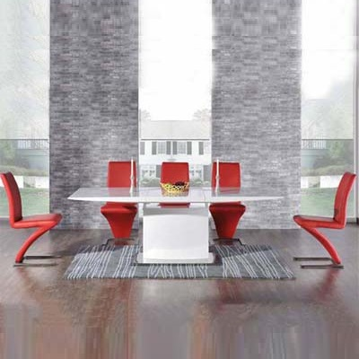 Hadlow High Gloss White Extending Dining Table With 6 Harvey Red Chairs