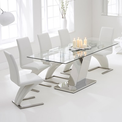 Lemar Glass Extending Dining Table With 6 Harvey White Chairs 7661