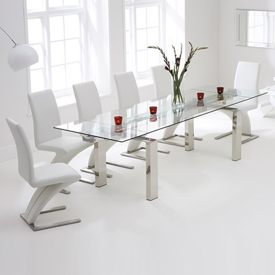Lunar Glass Extending Dining Table With 8 Harvey White Chairs 7734
