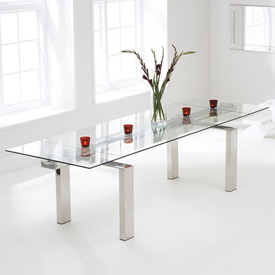 Lunar Glass Extending Dining Table With 8 Harvey White Chairs