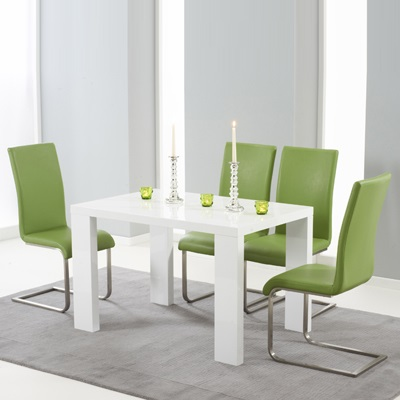 Metro High Gloss White 120cm Dining Table With 4 Milan Green Chairs 8150