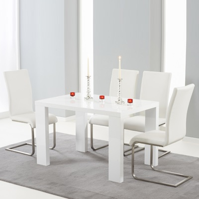 030e8d893a Metro High Gloss White 120cm Dining Table with 4 Milan White Chairs-8174
