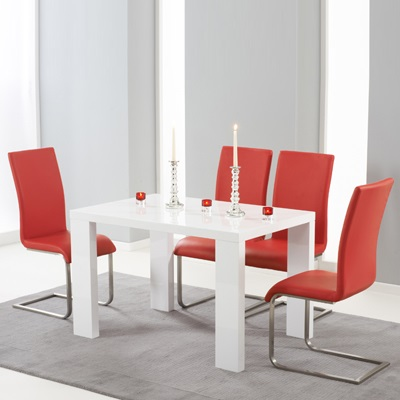 Metro High Gloss White 150cm Dining Table with 6 Milan Red ...