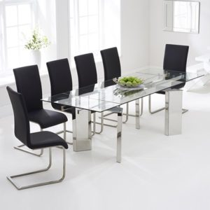 7b69a15f826 Milton Glass Extending Dining Table with 8 Milan Black Chairs-7786