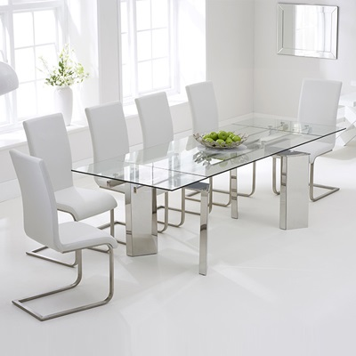 Milton Glass Extending Dining Table With 8 Milan White Chairs