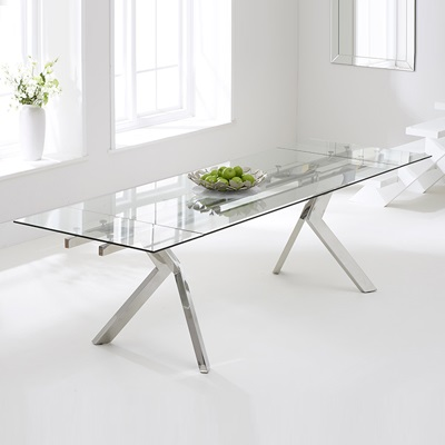 Palmero Glass Extending Dining Table with 8 Harvey White Chairs