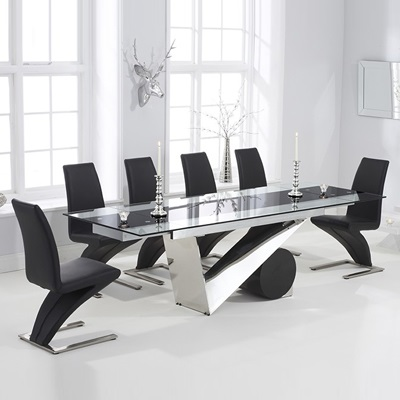 Perona Black Glass Extending Dining Table With 8 Harvey Black Chairs