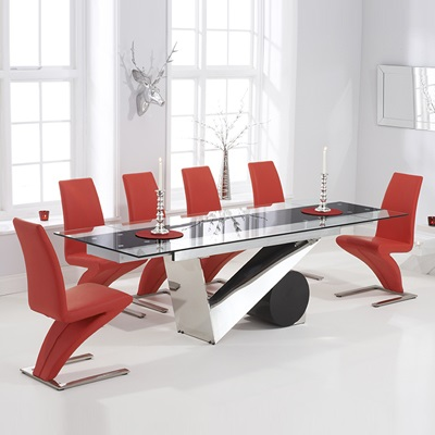 Perona Black Glass Extending Dining Table With 8 Harvey Red Chairs