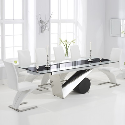 Swell Perona Black Glass Extending Dining Table With 8 Harvey White Chairs Evergreenethics Interior Chair Design Evergreenethicsorg