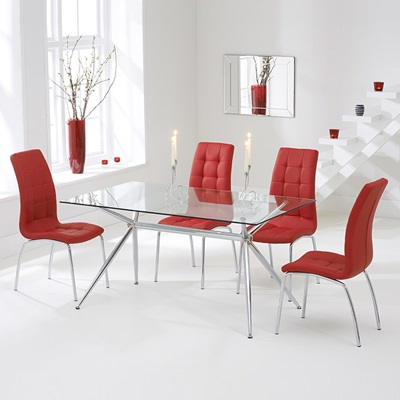 Salford Glass Dining Table With 4 Red Calgary Chairs Robson Furniture