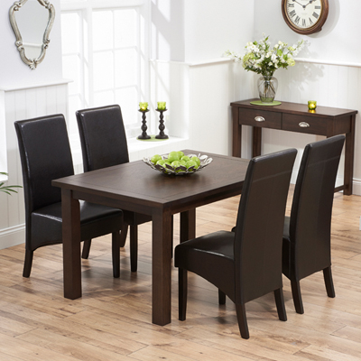 Sandiego Dark Oak 130cm Dining Table With 4 Vermont Brown Chairs 7375