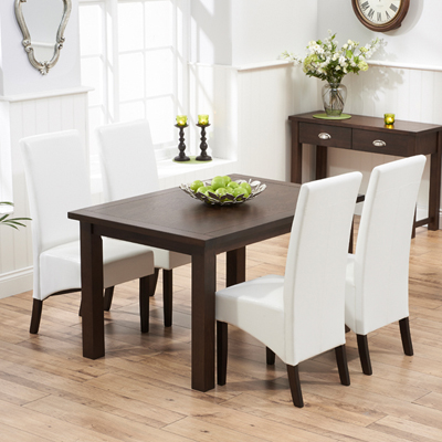 Sandiego Dark Oak 130cm Dining Table With 4 Vermont Ivory Chairs 7365