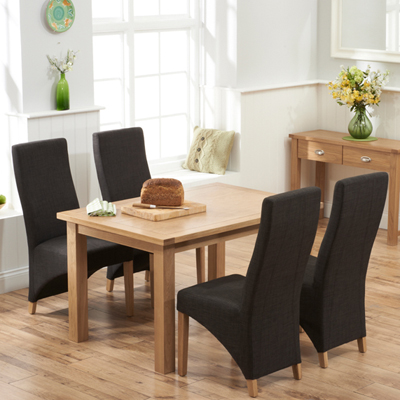 Sandiego Oak 130cm Dining Table With 4 Henry Charcoal Chairs 8666