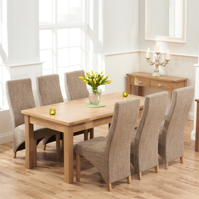 Sandiego Oak 180cm Extending Dining Table With 10 Henry Tweed Chairs 8899