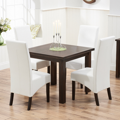 Sandiego Dark Oak 90cm Extending Dining Table With 4 Vermont Ivory Chairs 7344