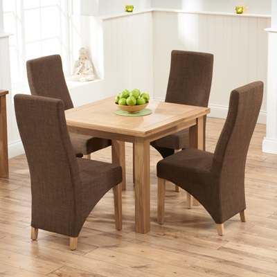 Sandiego Oak 90cm Extending Dining Table With 4 Henry Cinnamon Chairs 8572