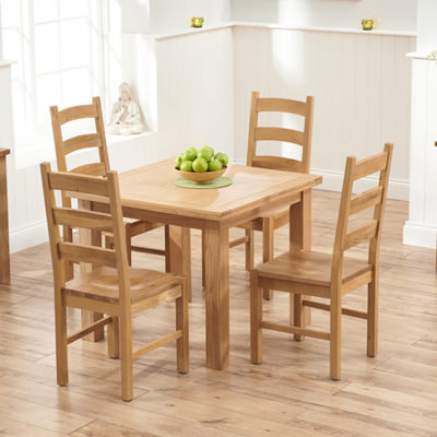 Sandiego Oak 90cm Extending Dining Table With 4 Venice Chairs 8634