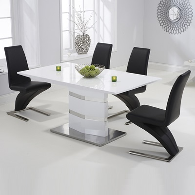 Stenson High Gloss White Dining Table With 6 Harvey Black Chairs