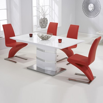 low priced 1e84f b314c Stenson High Gloss White Dining Table with 6 Harvey Red Chairs