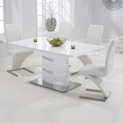 Stenson High Gloss White Dining Table With 6 Harvey White