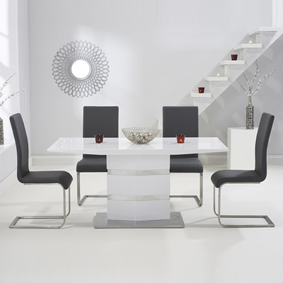 738919fa9b Stenson High Gloss White Dining Table with 6 Milan Grey Chairs-8289