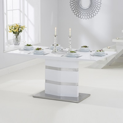 Stenson high gloss white dining table with 6 milan grey for White high gloss dining table