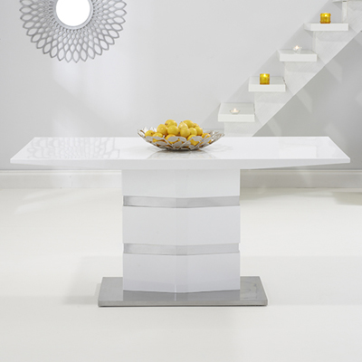 Stenson High Gloss White Dining Table With 6 Harvey Red