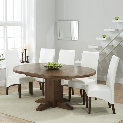 Trina Dark Solid Oak Round Extending Dining Table With 6 Wayne Ivory Chairs