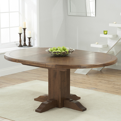 Trina Dark Solid Oak Round Extending Dining Table Robson Furniture