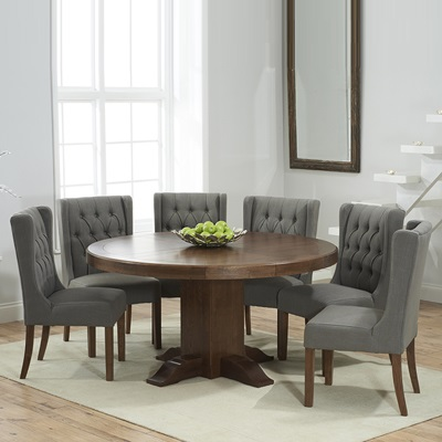 Trina dark solid oak round dining table with 6 sophia grey chairs robson furniture - Dark oak dining tables ...