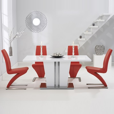 Vegas High Gloss White Dining Table With 6 Harvey Red Chairs 8331