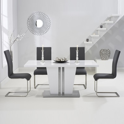 2d2e0a4b18 Vegas High Gloss White Dining Table with 6 Milan Grey Chairs-8350