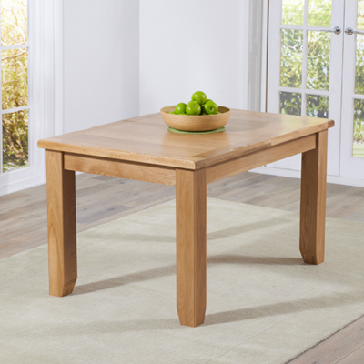 Yorkshire Solid Oak 130cm Extending Dining Table With 6 Henry Cinnamon Chairs