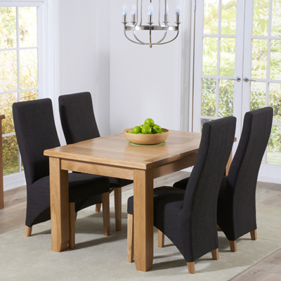 Yorkshire Solid Oak 130cm Extending Dining Table With 6 Henry Charcoal Chairs 9345