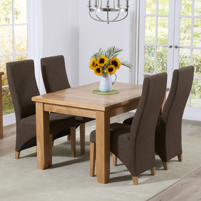 Yorkshire Solid Oak 130cm Extending Dining Table With 6 Henry Cinnamon Chairs 9368