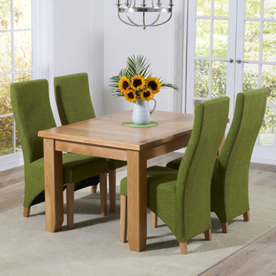 Yorkshire Solid Oak 130cm Extending Dining Table With 6 Henry Lime Chairs 9377
