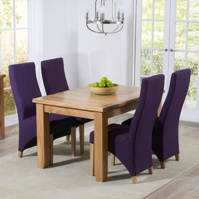 Yorkshire Solid Oak 130cm Extending Dining Table With 6 Henry Plum Chairs 9398