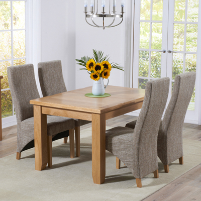 Yorkshire Solid Oak 130cm Extending Dining Table With 6 Henry Tweed Chairs 9409