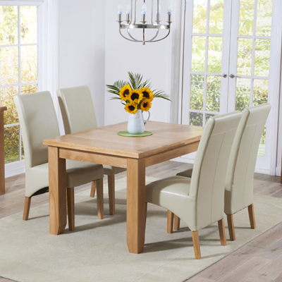 Yorkshire Solid Oak 130cm Extending Dining Table With 6 Rome Cream Chairs 9422