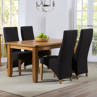 Yorkshire Solid Oak 140cm Dining Table With 4 Henry Charcoal Chairs