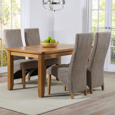 Yorkshire Solid Oak 140cm Dining Table With 4 Henry Tweed Chairs 9315