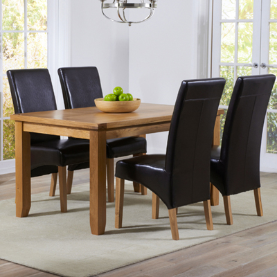 Yorkshire Solid Oak 140cm Dining Table With 4 Rome Brown Chairs 9318