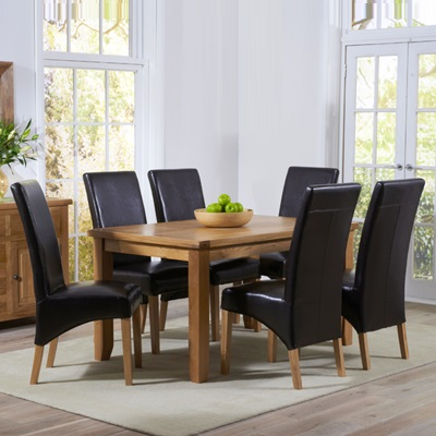 Yorkshire Solid Oak 140cm Dining Table With 4 Rome Cream Chairs