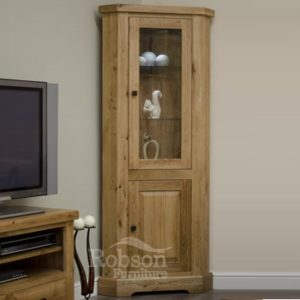 Delano Rustic Solid Oak Corner Display Unit-12175