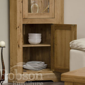 Delano Rustic Solid Oak Corner Display Unit-12171