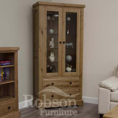 Delano Rustic Solid Oak Glass Display Cabinet-12176