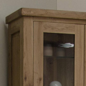 Delano Rustic Solid Oak Glass Display Cabinet-12177